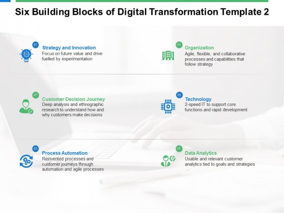Six Building Blocks Of Digital Transformation Technology Ppt PowerPoint Presentation Infographic Template Guide