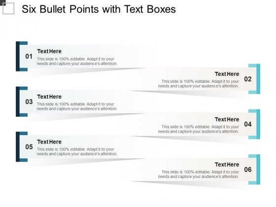 Six Bullet Points With Text Boxes Ppt PowerPoint Presentation Outline Layouts