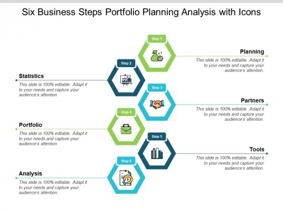 Six Business Steps Portfolio Planning Analysis With Icons Ppt PowerPoint Presentation Layouts Display