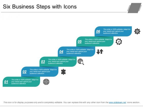 Six Business Steps With Icons Ppt PowerPoint Presentation Slides Maker