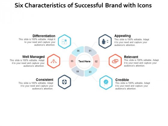 Six Characteristics Of Successful Brand With Icons Ppt PowerPoint Presentation Infographic Template Grid