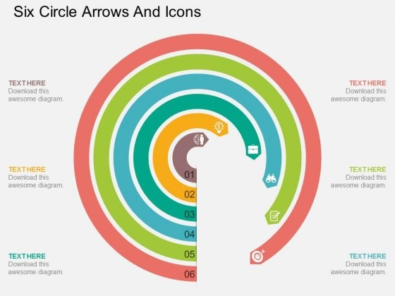 Six Circle Arrows And Icons Powerpoint Template