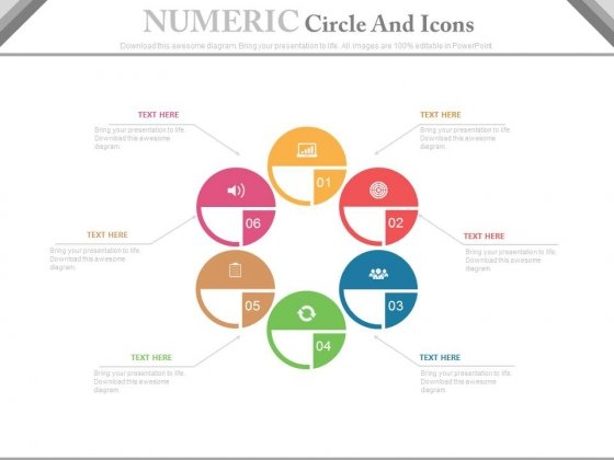 Six Circles For Marketing Mix Strategies Powerpoint Template