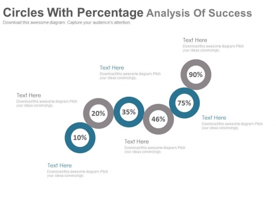 Six Circles For Percentage Value Analysis Powerpoint Slides