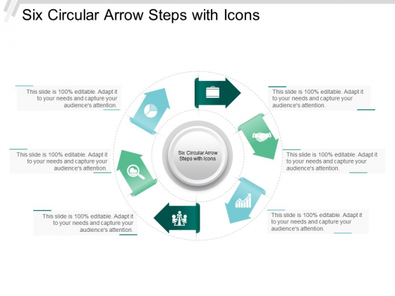 Six Circular Arrow Steps With Icons Ppt Powerpoint Presentation Outline Graphics Pictures