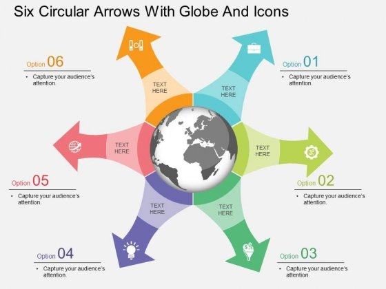 Six Circular Arrows With Globe And Icons Powerpoint Template