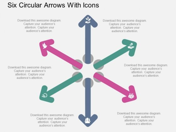 Six Circular Arrows With Icons Powerpoint Template