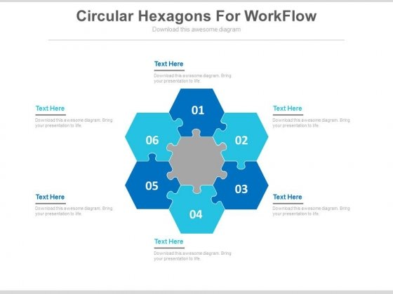 Six Circular Hexagons For Workflow Powerpoint Slides