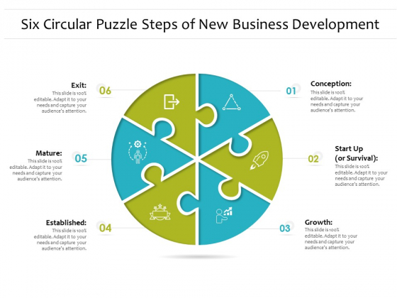 Six Circular Puzzle Steps Of New Business Development Ppt PowerPoint Presentation Infographic Template Vector PDF