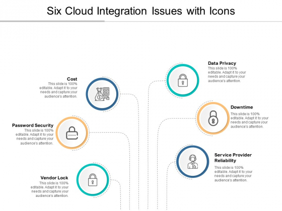 Six Cloud Integration Issues With Icons Ppt PowerPoint Presentation Portfolio Design Inspiration
