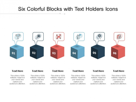 Six Colorful Blocks With Text Holders Icons Ppt PowerPoint Presentation Ideas Summary