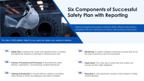Six Components Of Successful Safety Plan With Reporting Ppt PowerPoint Presentation Gallery Sample PDF