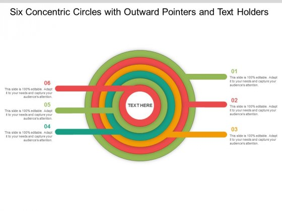 Six Concentric Circles With Outward Pointers And Text Holders Ppt Powerpoint Presentation Infographics Information