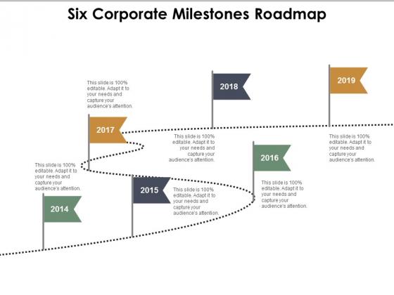 Six Corporate Milestones Roadmap Ppt Powerpoint Presentation Pictures Portfolio