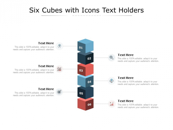 Six Cubes With Icons Text Holders Ppt PowerPoint Presentation Visual Aids Styles