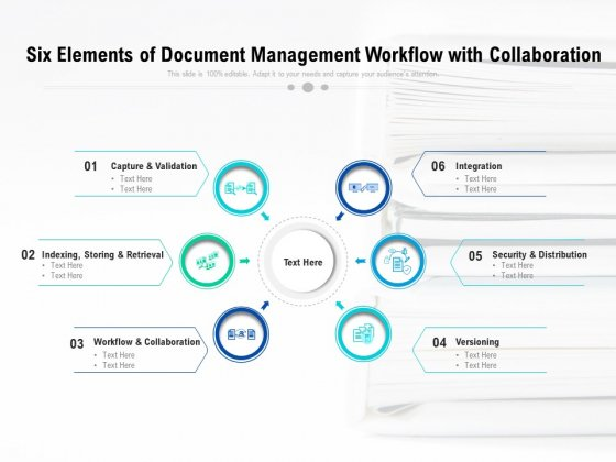 Six Elements Of Document Management Workflow With Collaboration Ppt PowerPoint Presentation File Show PDF