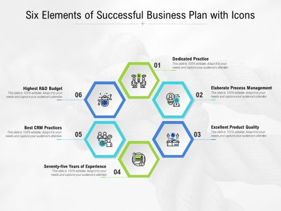 Six Elements Of Successful Business Plan With Icons Ppt PowerPoint Presentation Show Slideshow