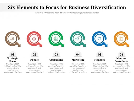 Six Elements To Focus For Business Diversification Ppt PowerPoint Presentation Inspiration Portrait PDF