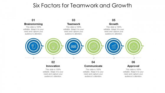Six Factors For Teamwork And Growth Ppt PowerPoint Presentation Icon Deck PDF