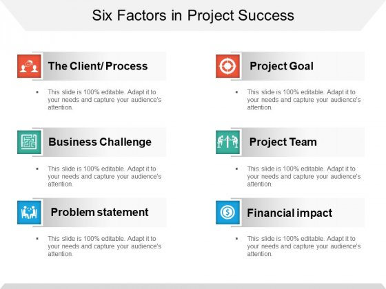 Six Factors In Project Success Ppt PowerPoint Presentation Infographics Designs Download