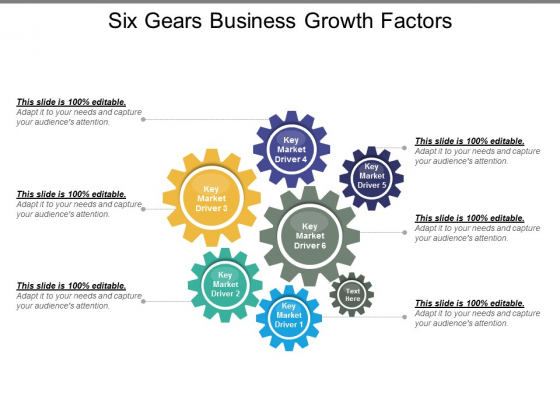 Six Gears Business Growth Factors Ppt PowerPoint Presentation Diagram Graph Charts
