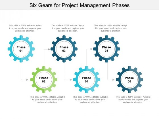 Six Gears For Project Management Phases Ppt PowerPoint Presentation Layouts Outline