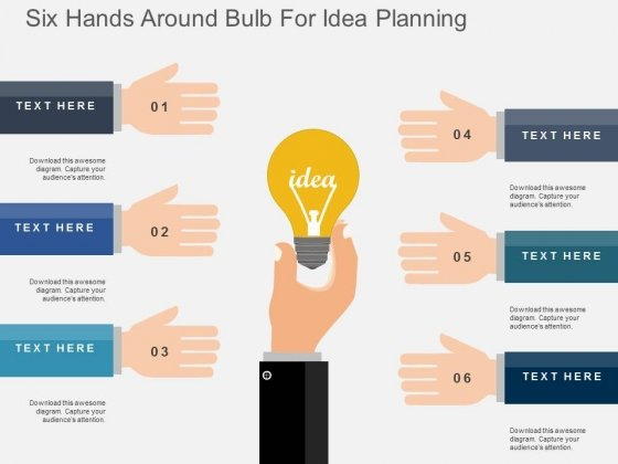 Six Hands Around Bulb For Idea Planning Powerpoint Templates