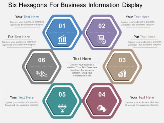 Six Hexagons For Business Information Display Powerpoint Templates