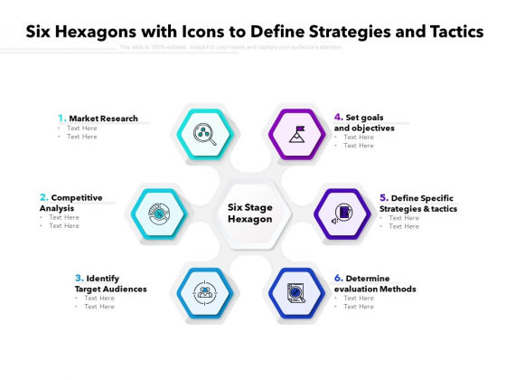 six hexagons with icons to define strategies and tactics ppt powerpoint presentation icon template pdf