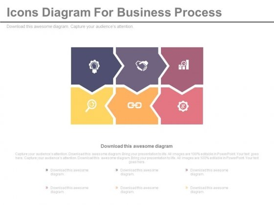 Six Icons Diagram For Business Process Powerpoint Slides