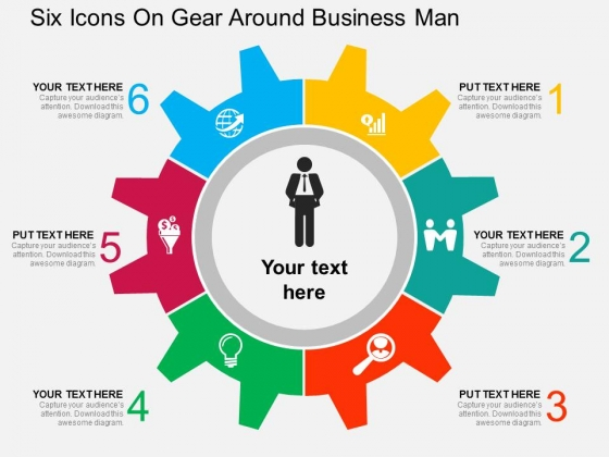 Six Icons On Gear Around Business Man Powerpoint Templates