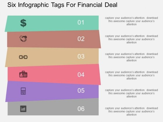 Six Infographic Tags For Financial Deal Powerpoint Template