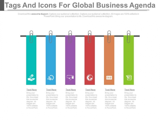 six infographic tags for global business agenda powerpoint template