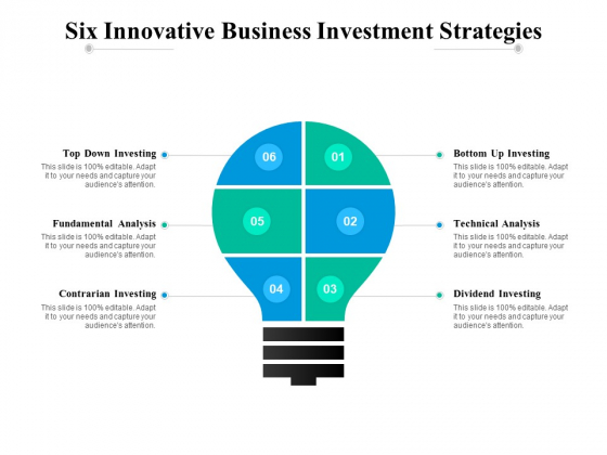 Six Innovative Business Investment Strategies Ppt PowerPoint Presentation Infographics Model