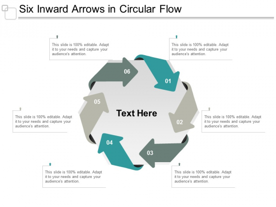 Six Inward Arrows In Circular Flow Ppt Powerpoint Presentation Slides Clipart Images