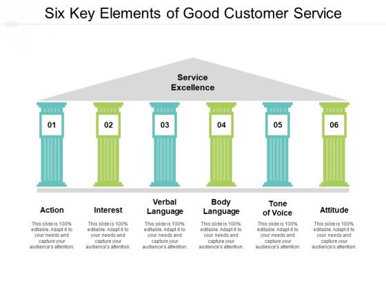 Six Key Elements Of Good Customer Service Ppt PowerPoint Presentation Designs