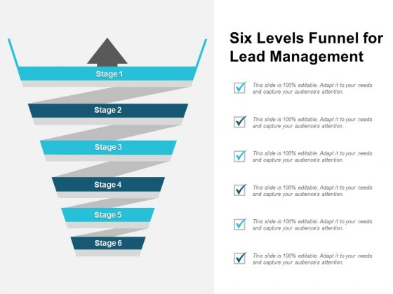 Six Levels Funnel For Lead Management Ppt PowerPoint Presentation Professional