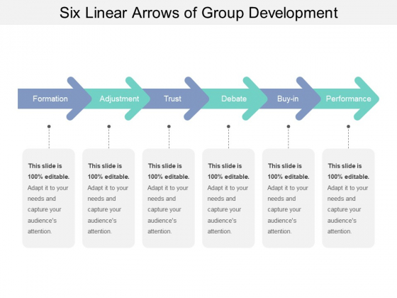 Six Linear Arrows Of Group Development Ppt PowerPoint Presentation Styles Visuals PDF