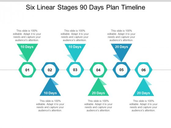 Six Linear Stages 90 Days Plan Timeline Ppt PowerPoint Presentation Professional Maker