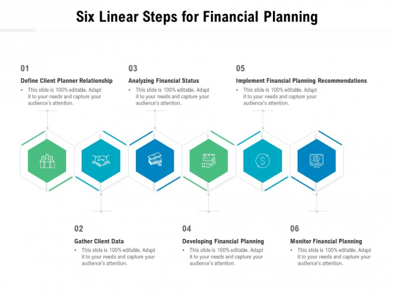 Six Linear Steps For Financial Planning Ppt PowerPoint Presentation Gallery Grid PDF
