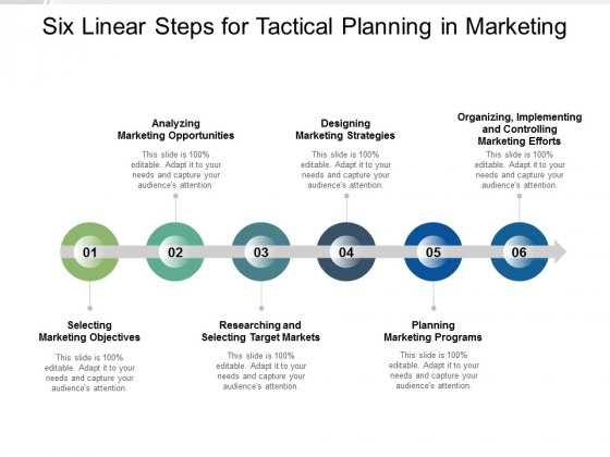 Six Linear Steps For Tactical Planning In Marketing Ppt PowerPoint Presentation Professional Information