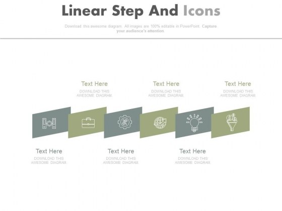 Six Linear Steps With Icons Diagram Powerpoint Slides