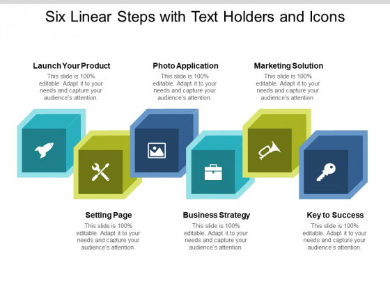Six Linear Steps With Text Holders And Icons Ppt PowerPoint Presentation Show Mockup