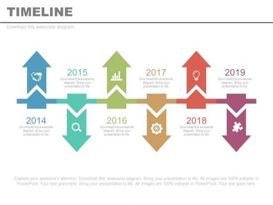 Six Linear Timeline Arrows Year Diagram Powerpoint Slides