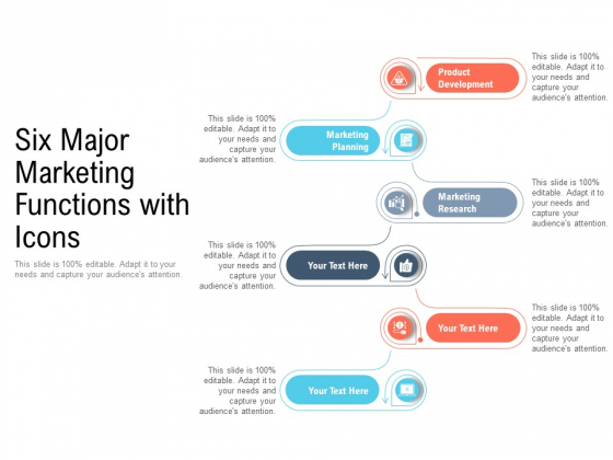 Six Major Marketing Functions With Icons Ppt PowerPoint Presentation Sample PDF