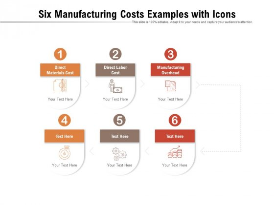 Six Manufacturing Costs Examples With Icons Ppt PowerPoint Presentation Inspiration Professional PDF