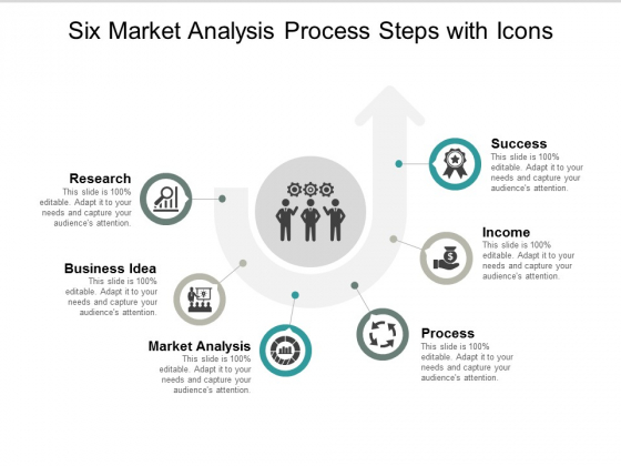 Six Market Analysis Process Steps With Icons Ppt Powerpoint Presentation Professional Gallery