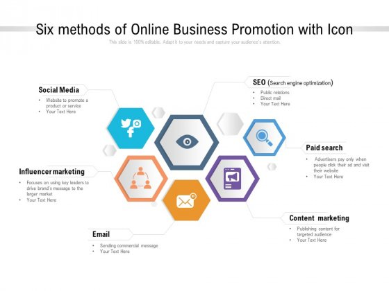 Six Methods Of Online Business Promotion With Icon Ppt PowerPoint Presentation Pictures Clipart