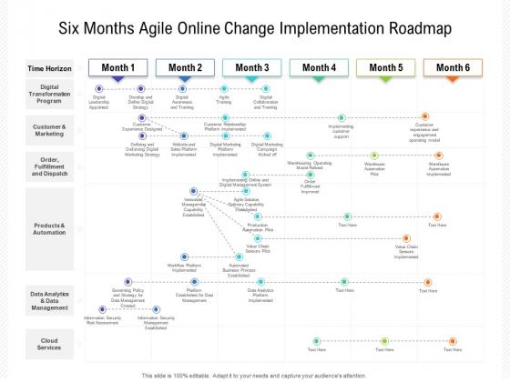 Six Months Agile Online Change Implementation Roadmap Infographics