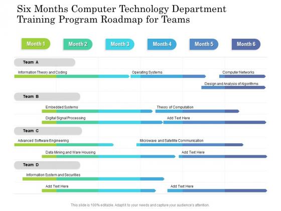 Six Months Computer Technology Department Training Program Roadmap For Teams Ideas